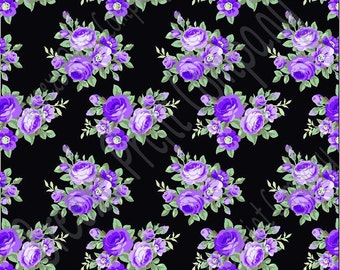Purple rose floral craft  vinyl sheet - HTV or Adhesive Vinyl -  with black background flower pattern vinyl  HTV2225