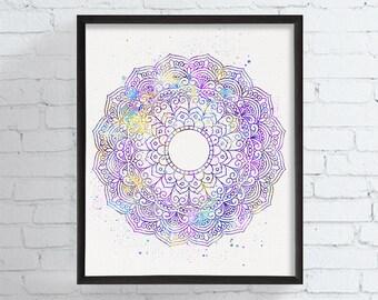 Mandala Art Print, Watercolor Mandala, Mandala Wall Art, Mandala Poster, Mandala Illustration, Buddhist Art, Zen Art, Hindu Decor, New Age