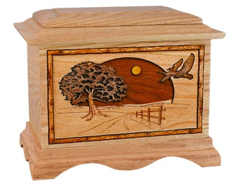 Oak Geese Ambassador Wood Cremation Urn