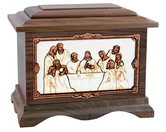 Walnut Last Supper Ambassador Wood Cremation Urn