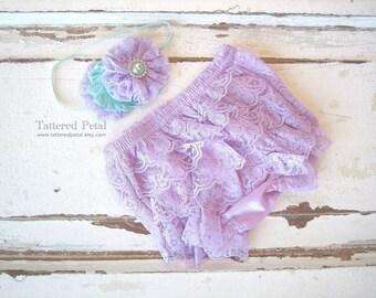 Lavender bloomer, lace bloomer, lavender diaper cover, purple bloomer, ruffle bloomers, baby bloomer, lace diaper cover, newborn photo prop