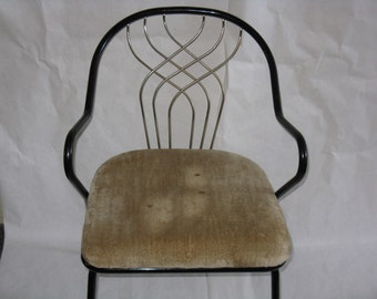 Mid Century Modern accent chair metal gold brass cushioned