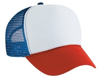 Dustin from STRANGER THINGS Red White & Blue HAT Trucker Cap 80s one size fits most