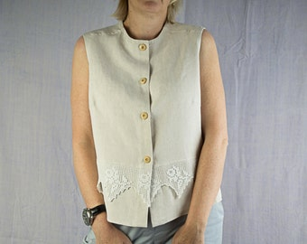 Sleeveless top made with antique French linen and lace, waistcoat, blouse, jacket, shirt, summer (45)