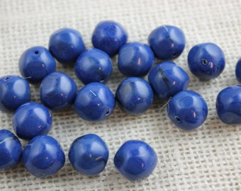 Vintage Navy Acrylic 12mm Beads (21 Pieces)