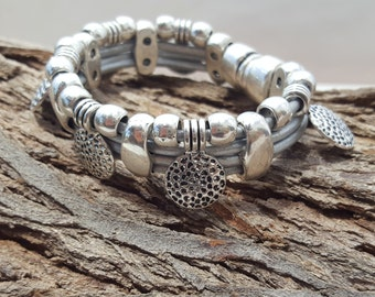 beaded leather Bracelet, coins, magnetic closure