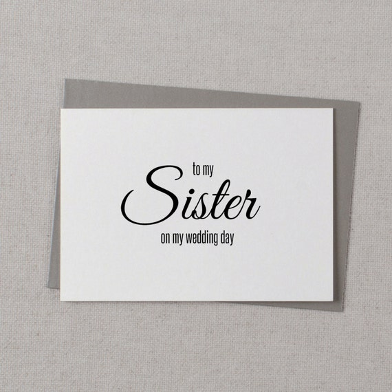 To My Sister On My Wedding Day Card To My By KismetWeddingsCo