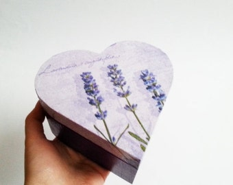 Lavender trinket heart box decoupage valentines keepsake box small wooden box