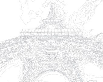 adult coloring page color therapy digital download eiffel tower paris france architecture make your own wall art famous building