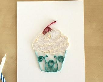 Blue White Cupcake Kitchen Decor, Paper Turquoise Cupcake Decor, Baby Boy Cupcake, Sweet Boy Cupcake Decor, Blue Nursery Decor Baby Boy Gift