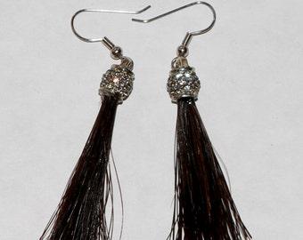 Horse Hair Tassel Earrings with Swarovski Crystals