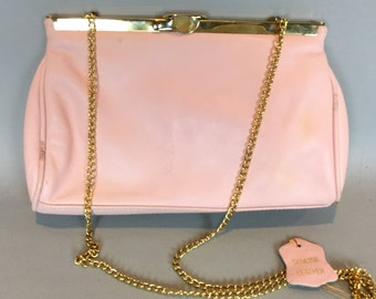 Vintage Pink Leather Purse, 70s leather clutch, gold tone long chain handle,