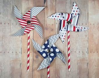 Patriotic Pinwheels, Military Decor, Paper Pinwheels, Red White and Blue Pinwheels, Patriotic Photo Props, Fourth of July Pinwheels