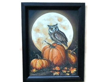Full Moon, Owl, In the Pumpkin Patch, Pumpkins, Art Print, Country Home Decor, Wall Hanging, Handmade, 19X15, Custom Wood Frame, Made in USA