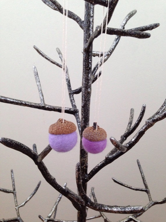Felted wool acorn ornaments set of two in purples