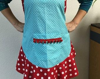 Cheerful retro style polka dot apron