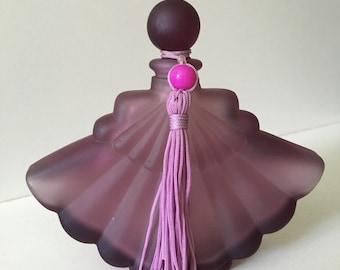 Purple Satin Glass Fan Perfume Bottle with Tassle