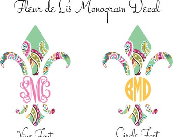 Fleur de Lis  Monogram Decal