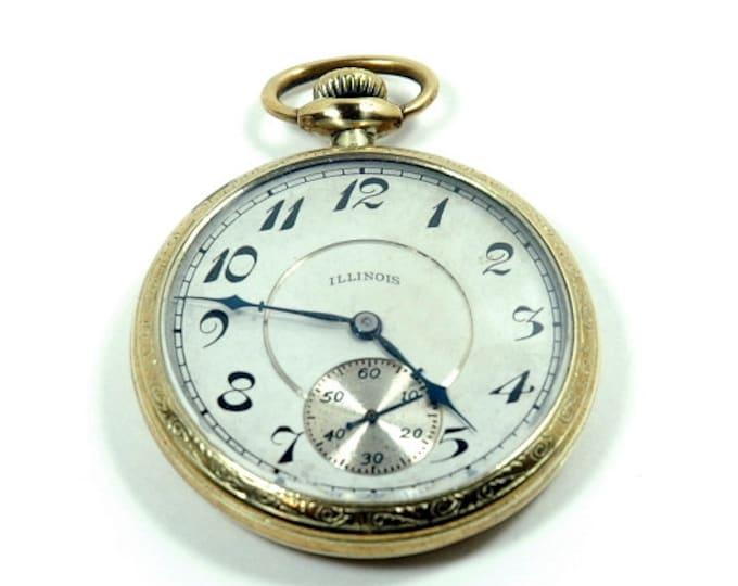 Featured listing image: Antique Estate Sale 1916 Illinois 14K Gold Pocket Watch