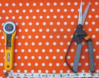Orange and White Polka Dot Fabric, One yard, Quilt Fabric, Cotton Fabric, Craft Fabric