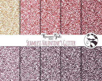 Seamless Valentine Glitter Digital Paper Set - Personal & Commercial Use