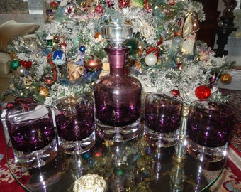 PURPLE GLASS DECANTER and Four Glasses