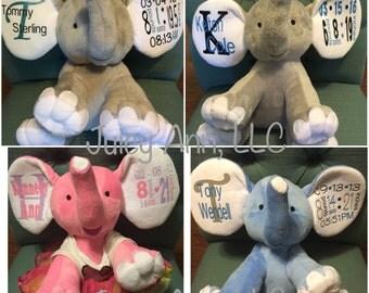 Personalized Custom Elephant Plush Name Birth Stats Wedding Baptism Graduation Gifts