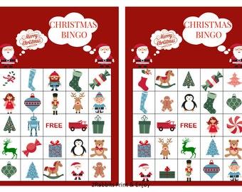 20 Printable Christmas Bingo Cards Prefilled Christmas Clip Arts - Christmas Games - Christmas Bingo for kids and Preschool Instant Download