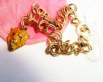 1890s VICTORIAN 12k Rose Gold Fill Antique Bracelet Yellow GF LION Head Charm w Ruby Eyes