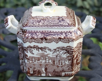 Mason's Vista Brown Transferware Square Fan Sugar Bowl and Lid