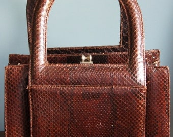 Vintage genuine snakeskin leather handbag brown colour 50's 60's