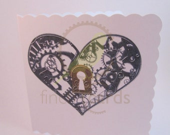 Steampunk Heart Lock and Key Card, Steampunk Card, Heart Card, UK