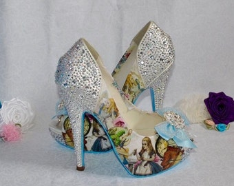 Handmade Alice in Wonderland Crystal Heel Shoes - Vintage Custom Wedding Bridal Bridesmaid Prom High Heels Something Blue
