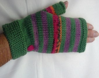 Ladies, Fingerless gloves,  forest green with stripes.