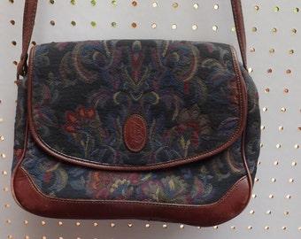 90s Vintage Taperstry Liz Claiborne Shoulder Bag. Vintage Liz Handbag. Flower Purse. Bohemian Flower Bag.