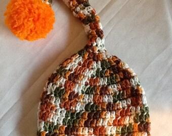 Crochet Baby/Kids' Orange, Green, Brown, White Elf Hat