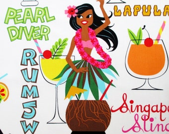 Fabric, Rum Swizzle, White Tropical Hawaiian Drinks, Tiki Dreams, Hula Girls, Alexander Henry, By the Yard
