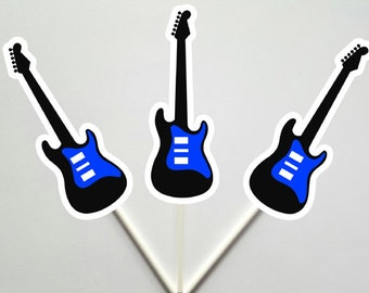 Guitar Cupcake Toppers, Rock Star Cupcake Toppers