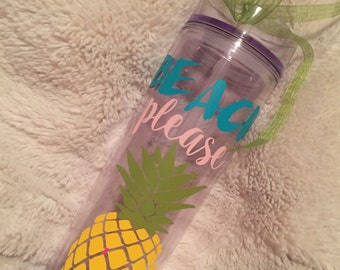 Beach please with pineapple tumbler cup