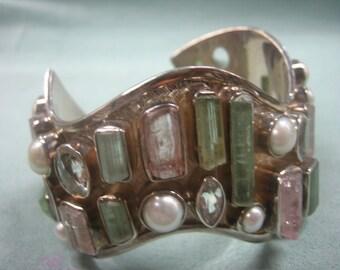 Tourmaline Pearl White Topaz Sterling Silver Bracelet