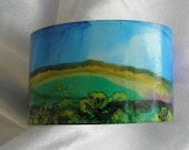 cuff bracelet metal painted alcohol ink landscape design 1 and 5/8 inches wide # 101