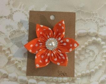 Orange and White Polka Dot Fabric Flower Hair Clip