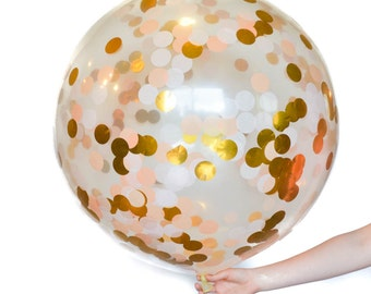 Jumbo Clear Latex Confetti Balloon with tassels and paper flower option Gold Peach Confetti Balloon flower garland tassels for balloon Peach