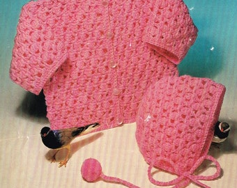 baby matinee coat and bonnet vintage crochet pattern PDF instant download