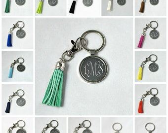 Personalized Engraved Monogrammed Keychain With Tassel - 20 Color Choices of Tassel; Bridesmaid Gift; Graduation Gift