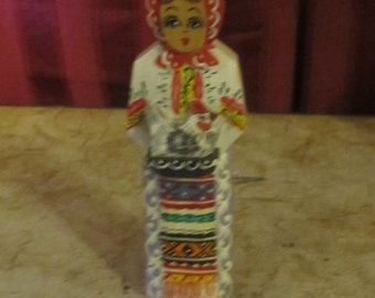 Hand Painted Wooden Lady Figurine