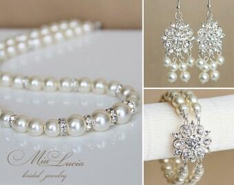 Bridal Jewelry Set, Swarovski Pearl Bridal Jewelry Set, Pearl Necklace Earrings Bracelet Set,  art. e06-b14-n02