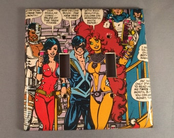 New Teen Titans Comic Book light switch cover double toggle
