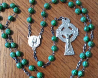 Beautiful Green Beaded Ave Maria Rosary, 22 Inches