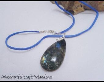 Labradorite Silver Wire Wrapped Necklace